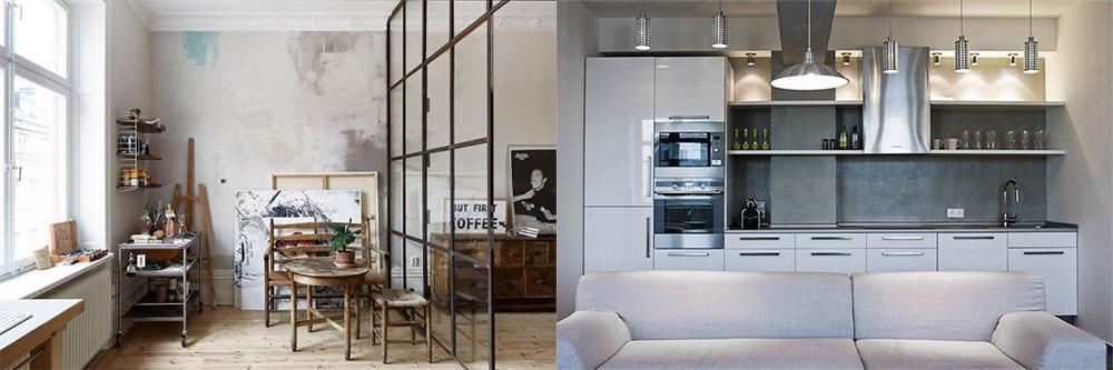 Зона творчества и кухня дизайн квартиры студии 2018