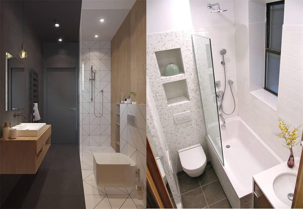 Зонирование при помощи цветов стен и освещения дизайн совмещенной ванной