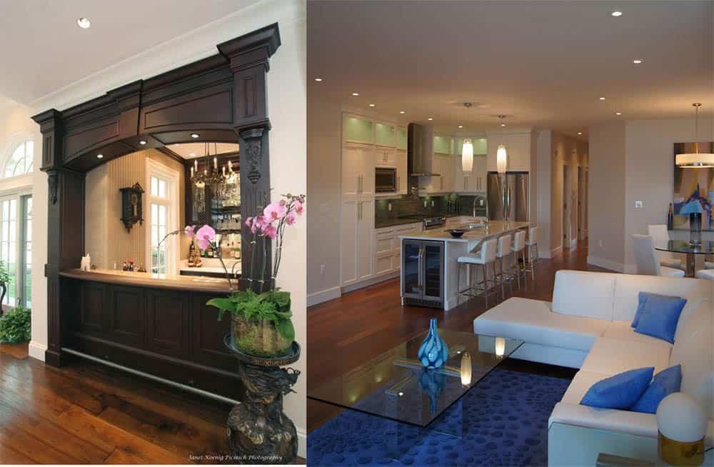 Зонирование кухни и гостиной при помощи барной стойки интерьер кухни гостиной