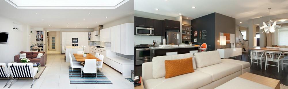 Зонирование с помощью потолка и стен интерьер кухни гостиной