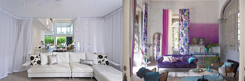 Модное зонирование шторами для гостиной шторы в гостиную