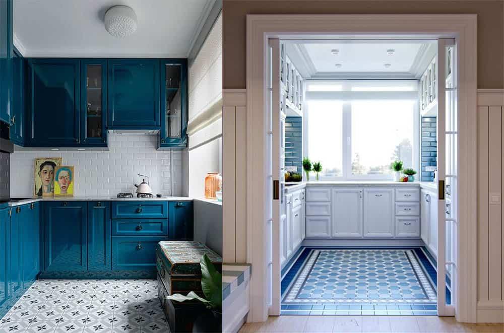 Кирпичная кладка и узорчатый пол интерьер маленькой кухни