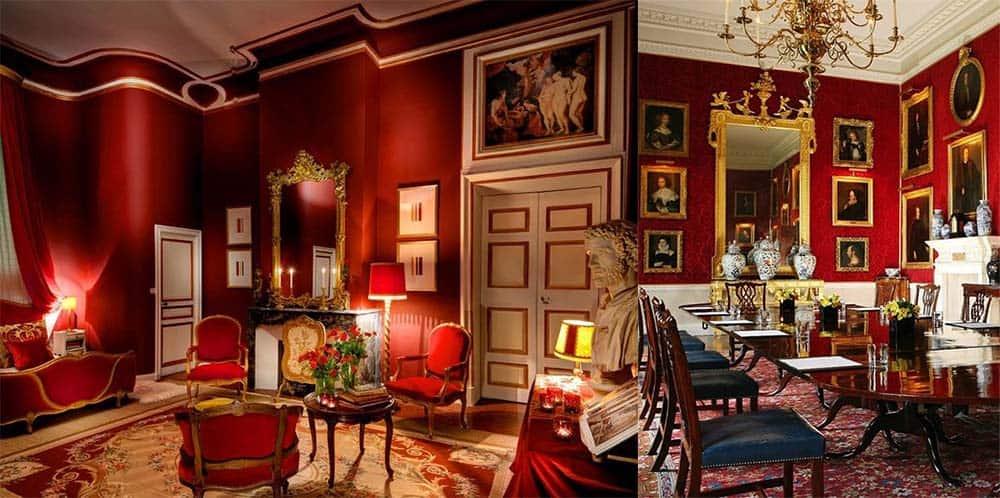 Красный цвет невероятно красивый классический стиль в интерьере