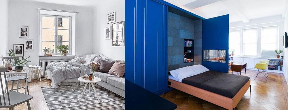 Кровати-трансформеры для экономии пространства Дизайн однокомнатной квартиры 2018