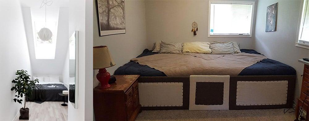 Кровать на всю ширину спальни дизайн маленькой спальни 2018