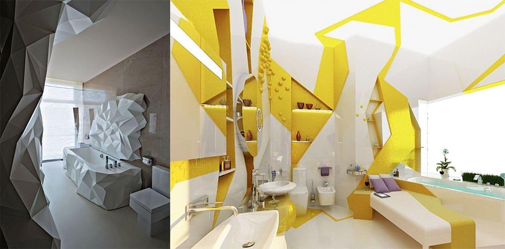 Кубизм расширение и изменение пространства Интерьер маленькой ванной