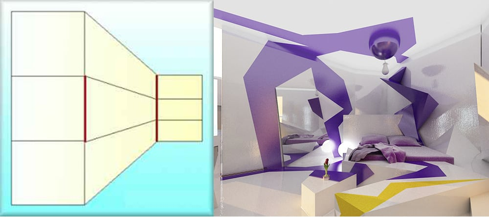 Кубизм и иллюзия кинескопа для моделирования пространства маленькая спальная комната