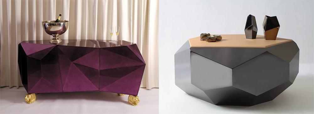 Кубизм формы напоминающие природные кристаллы Мебель 2018