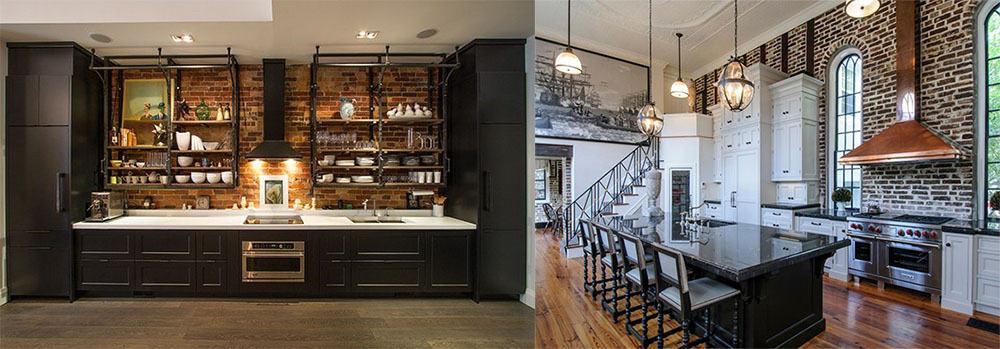 Кухня в индустриальном стиле акцент на холодные цвета и металл Лофт 2018