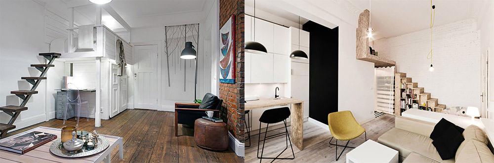 Лесенки для экономии и красивого оформления пространства Дизайн однокомнатной квартиры 2018