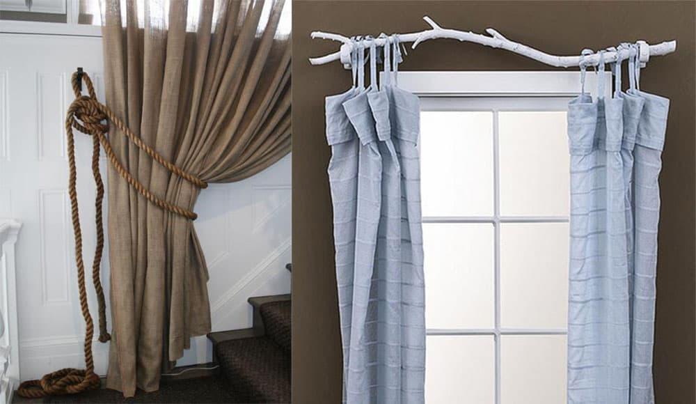 Льняные шторы и оригинальные карнизы в спальню современный дизайн штор