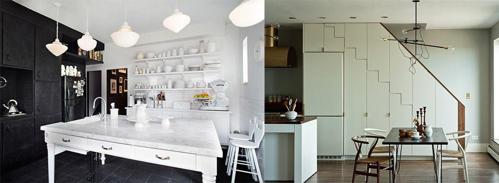 Маскировка цветом тон-в-тон к окружающей обстановке Дизайн кухни с холодильником 2018