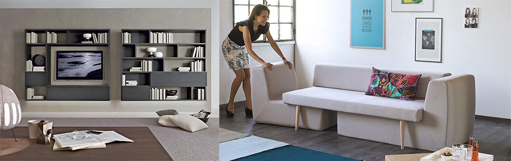 Модульная и трансформер мебель интерьер квартиры хрущевки