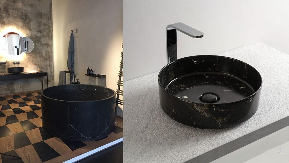 Мраморные текстуры переосмысление сочетание черного и небольших вкраплений белого Мебель 2018