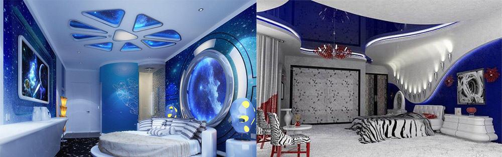 Глянцевый натяжной потолок для отражения света маленькая спальная комната