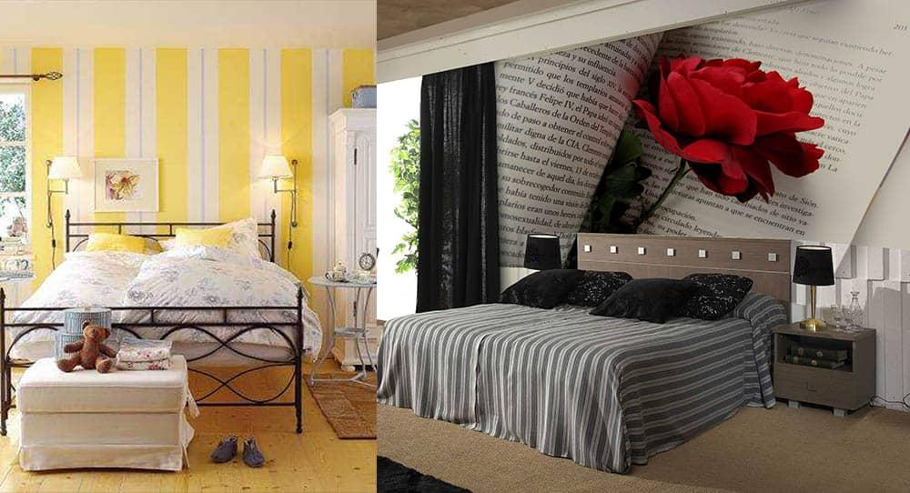 Обои в полоску и фотообои с перспективой маленькая спальная комната