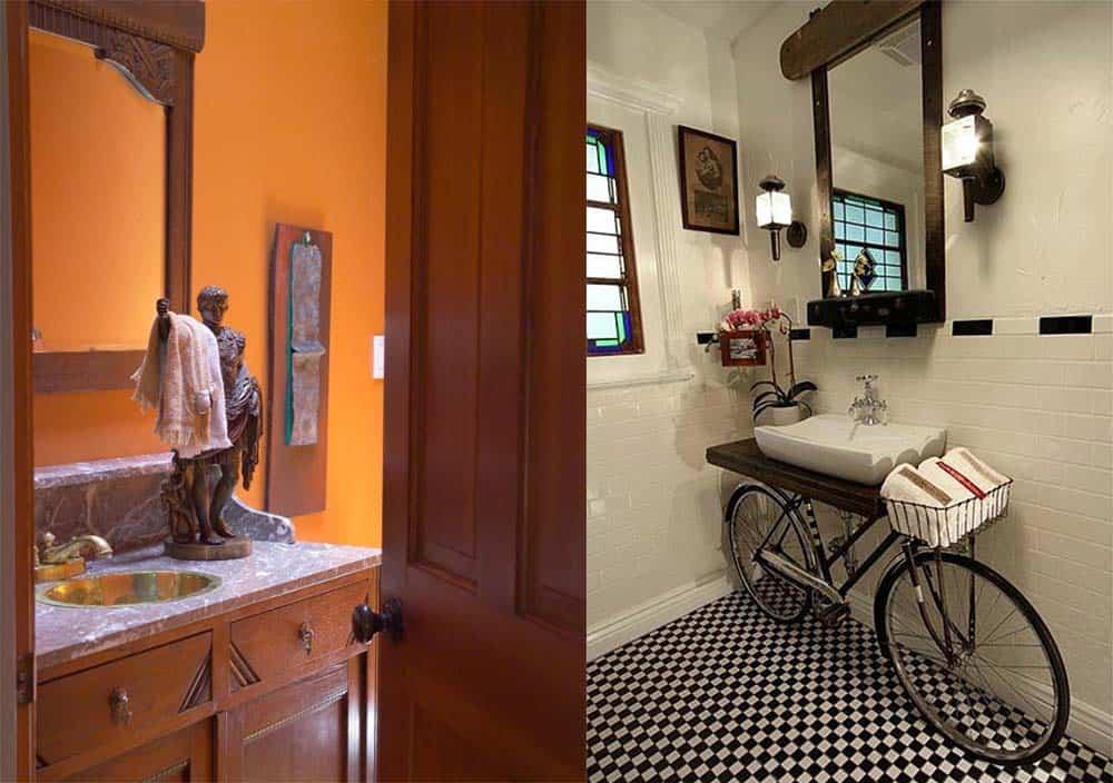 Оригинальные держатели как элементы декора Интерьер маленькой ванной