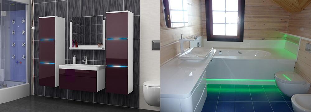 Подвесные констукции мебель с подсветкой Дизайн маленькой ванной комнаты 2018