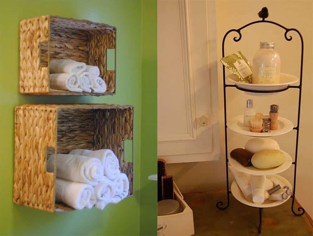 Подвесные ящички для полотенец и многоярусный держатель на столешнице Интерьер маленькой ванной