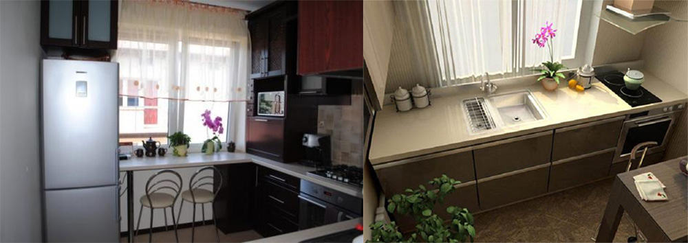 Подоконник-столешница хорошее решение для кухни в хрущевке интерьер маленькой кухни