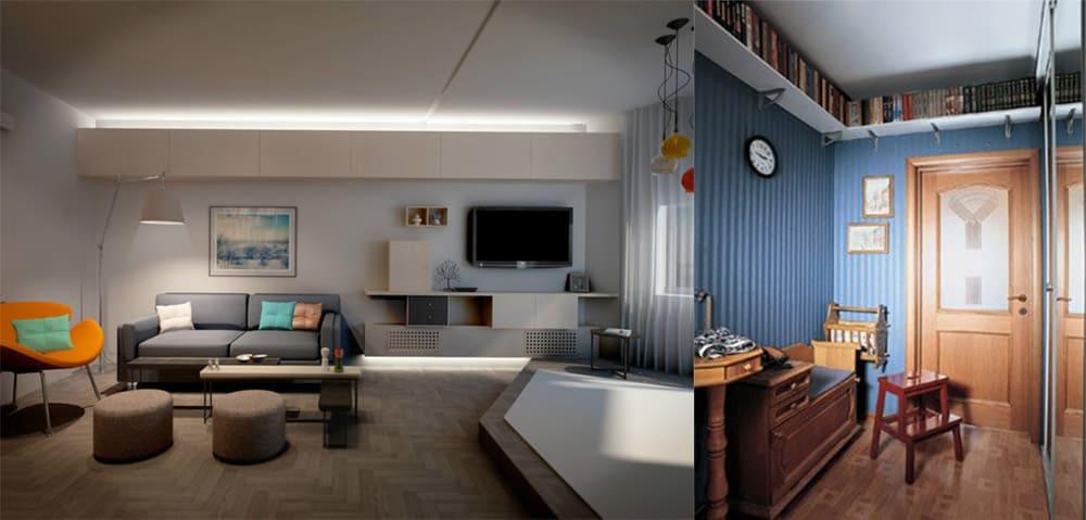 Полка под потолком стильное решение Дизайн однокомнатной квартиры 2018