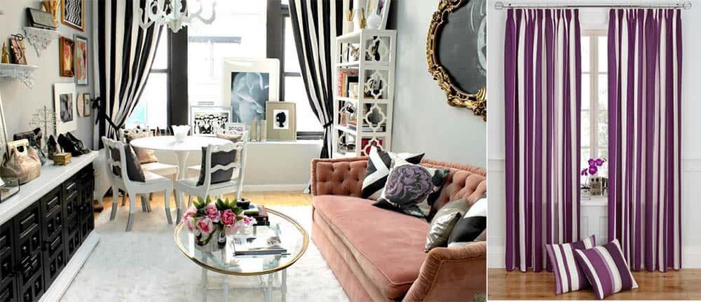 Полоски вертикальные влияние стиля Ар Деко шторы в гостиную