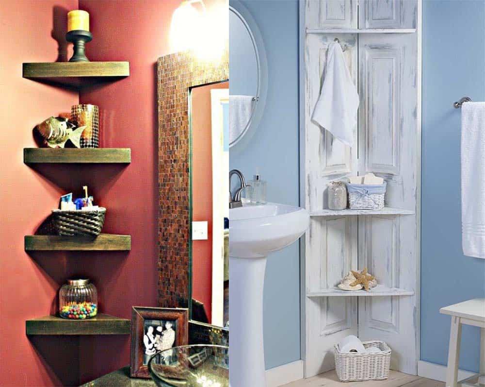 Миниатюрные полочки в углах ванной Дизайн маленькой ванной комнаты 2018