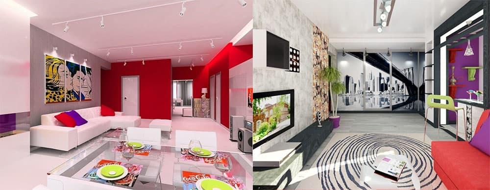 Поп-арт в дизайне квартиры студии интерьер квартиры студии