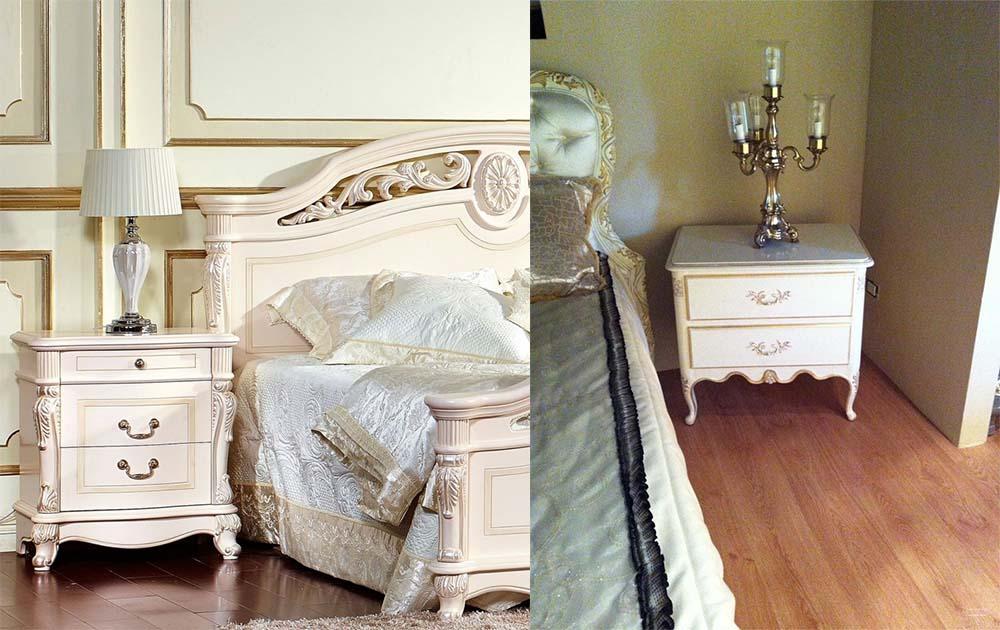 Прикроватные тумбочки и их декор для классической спальни интерьер спальни 2018