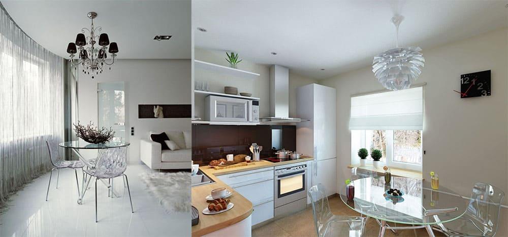 Прозрачная мебель для воздушности пространства интерьер однокомнатной квартиры