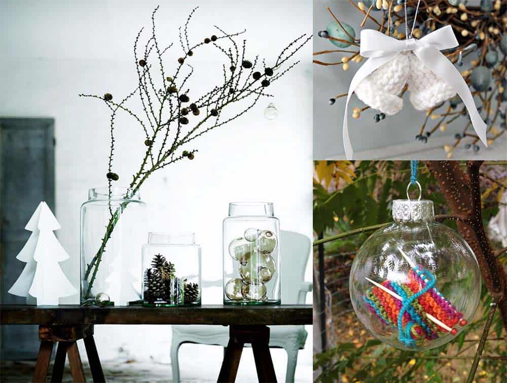 Растения в декоре и вязаные игрушки в различных вариантах новогодний декор 2018