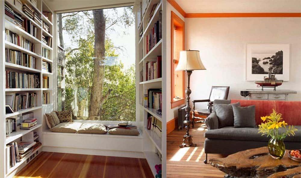 Расширенный подоконник и контуры интерьер квартиры хрущевки