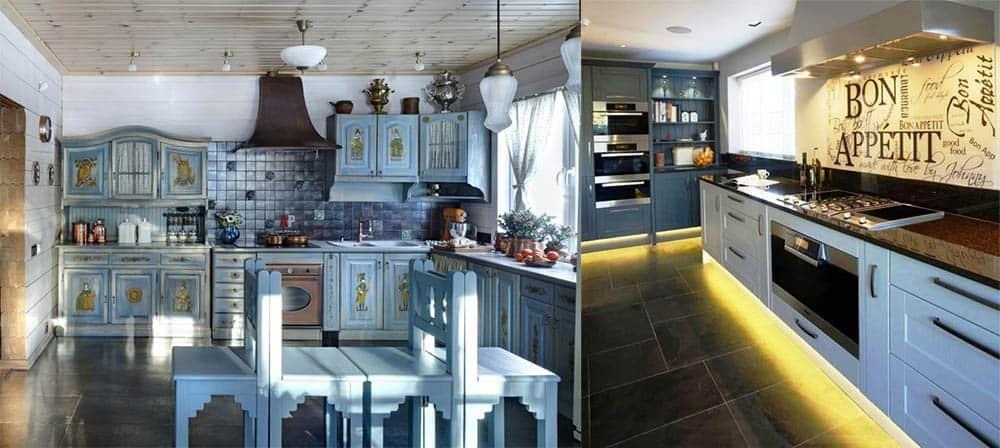 Русский стиль с декупажем и парящая мебель с подсветкой идеи дизайна кухни
