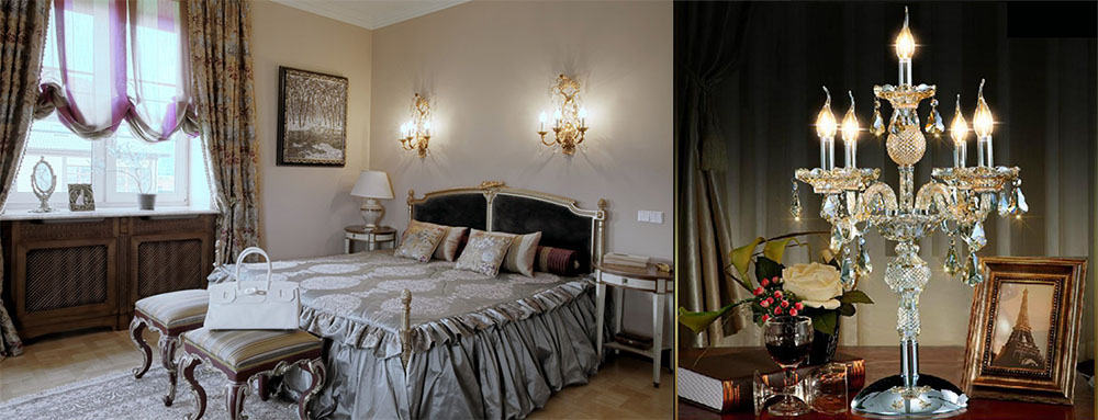 Светильники стилизованные под канделябры для классической спальни интерьер спальни 2018