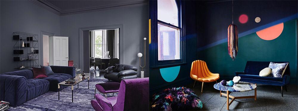 Обилие цветов и прекрасные сочетания тренды Современный дизайн гостиной 2018