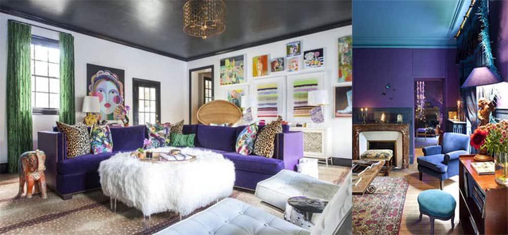 Сочетания в интерьере с ультра фиолетовым цветом Модные шторы для зала 2018