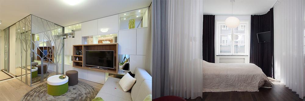 Отделение спальной зоны при помощи перегородок или балдахина дизайн квартиры студии 2018