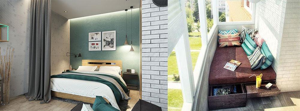 Спальня в нише и на балконе Дизайн однокомнатной квартиры 2018
