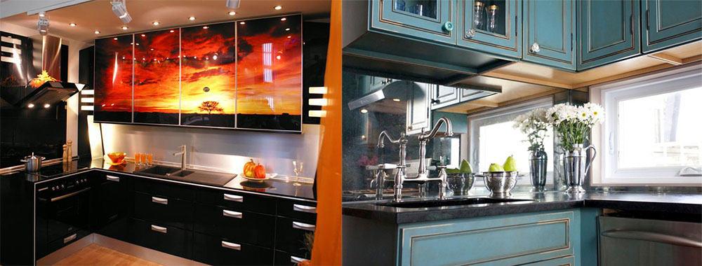 Стеклянные и зеркальные фартуки интерьер маленькой кухни