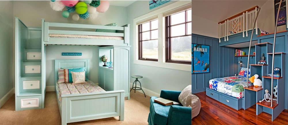 дизайн маленькой спальни 2018 с двухъярусной кроватью