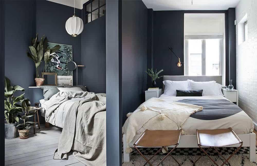 Темные стены - светлый пол и потолок маленькая спальная комната