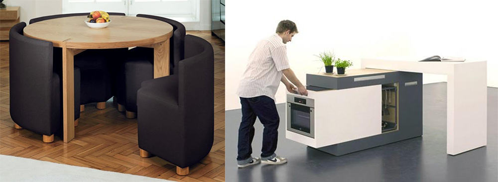 Трансформеры на кухне мебель с выдвижными конструкциями дизайн маленькой кухни 2018