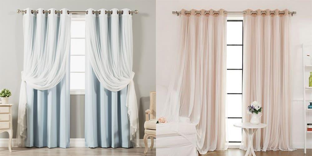 Тюль и блэкаут шторы в спальне 2018 современный дизайн штор