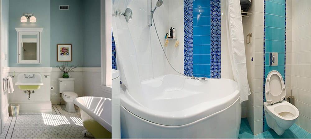 Унитаз в нише модный прием зонирования дизайн совмещенной ванной