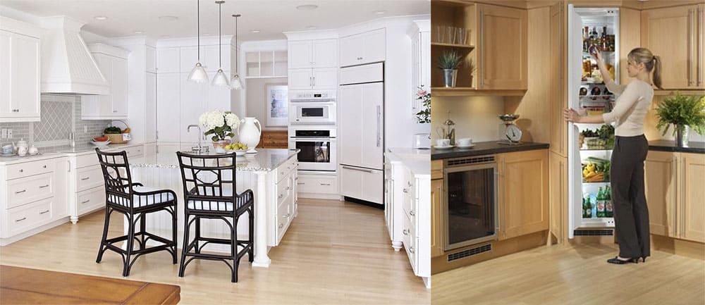 Холодильник в центре трапецевидной мебельной композиции идеи кухни 2018