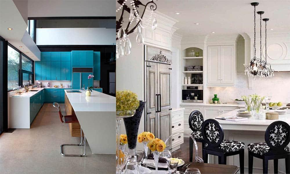 Холодильник скрывается за стильными фасадами кухонного гарнитура и в отдельной комнате за дверью Дизайн кухни с холодильником 2018