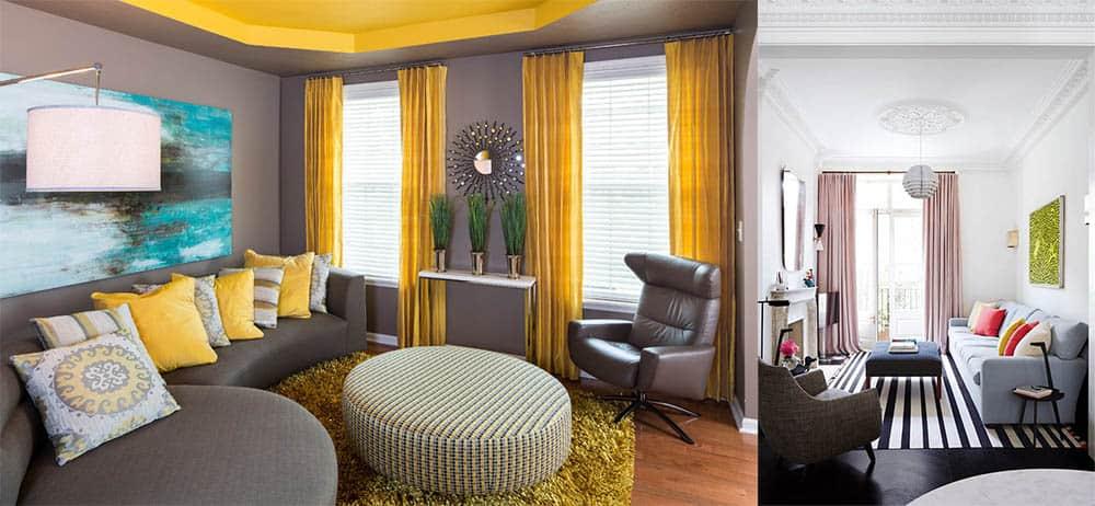 Модные шторы акцент на шторах Дизайн квартиры хрущевки 2018