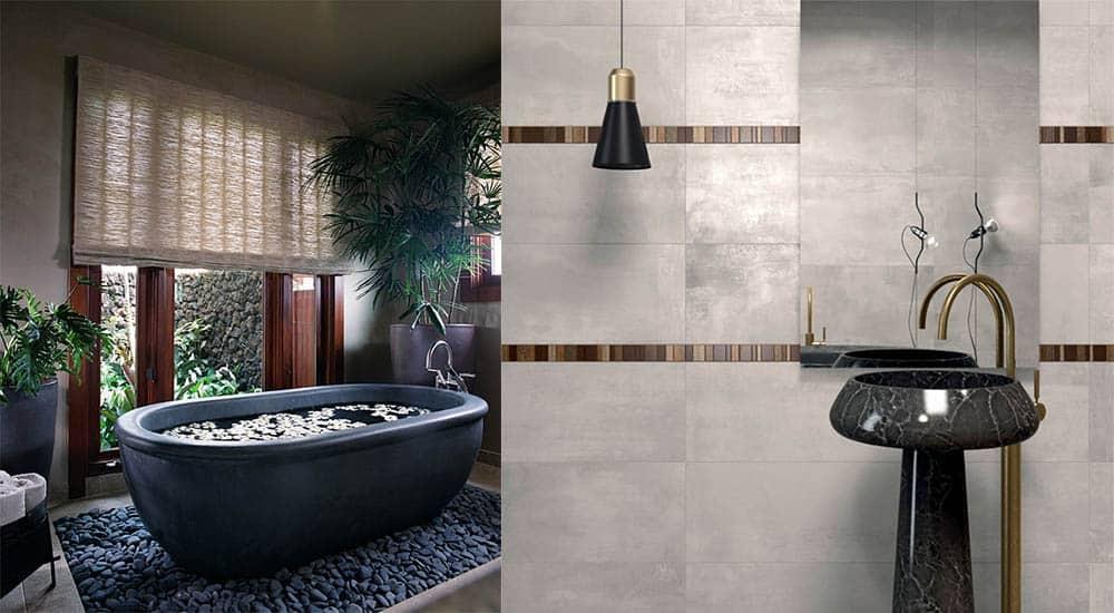 Эффект гальки на полу и сочетание латуни с черным Идеи интерьера ванной