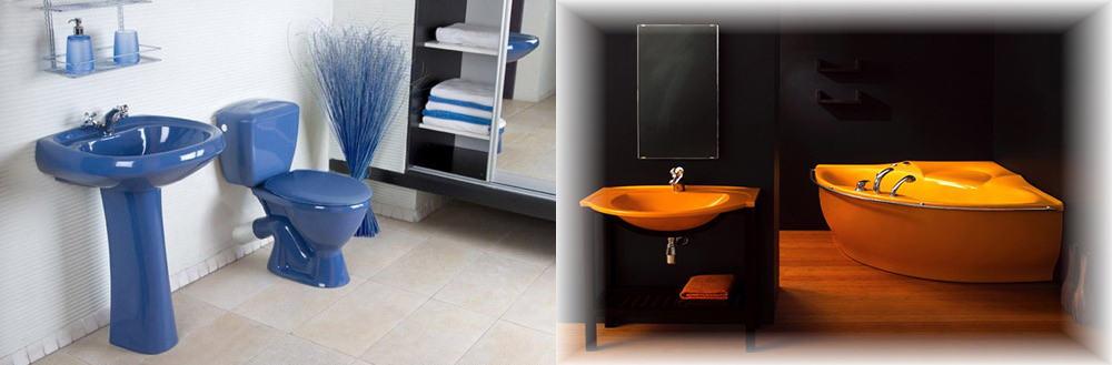 Яркие цвета сантехники для оригинального дизайна с единой концепцией Дизайн ванной комнаты с туалетом 2018