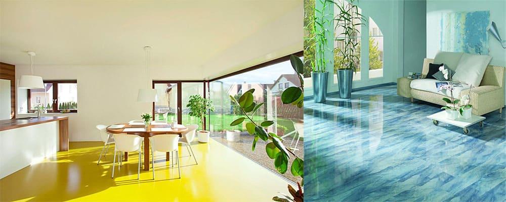 Яркий глянцевый наливной пол и светлые стены сочетание для расширения пространства интерьер однокомнатной квартиры